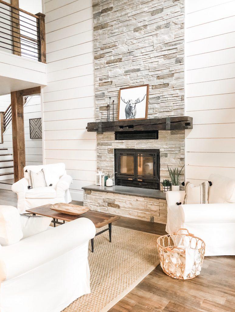 Versetta Stone fireplace, shiplap, modern farmhouse